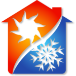 Double Check AC Heating and Cooling blue and orange artwork